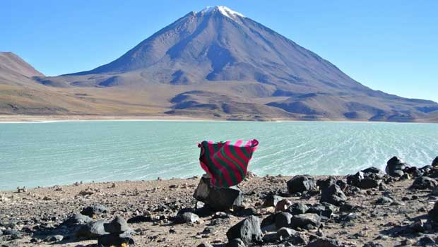 Laguna Verde (Spanish for 'green lake') is a salt lake in an endorheic basin, in the southwestern Altiplano in Bolivia. It is located in the Sur Lípez Province of the Potosí­ Department. It is close to the Chilean border, at the foot of the volcano Licancabur.
